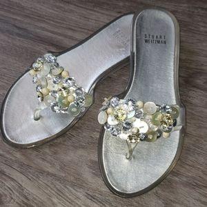 Stuart Weitzman Clear Embellished Jelly Sandals